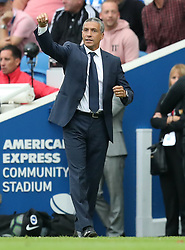 Brighton & Hove Albion manager Chris Hughton gestures on the touchline during the Premier League match at the AMEX Stadium, Brighton.