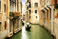 Venice canal and gondoliers, Venice Italy