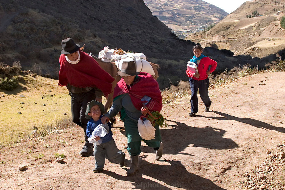 (MODEL RELEASED IMAGE). Returning from the weekly market in Simiatug with most of their purchases strapped onto a borrowed horse, Orlando Ayme leads the horse and Ermelinda Ayme Sichigalo, and Livia Rocío follow. Their home in Tingo, Ecuador is an hour walk up the mountain. Orlando sold two sheep for $35 to buy food for his family. (Supporting image from the project Hungry Planet: What the World Eats.)