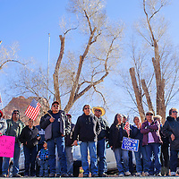 112614       Cable Hoover<br /> <br /> A crowd of protesters gathers outside the Navajo Council Chambers in Window Rock.