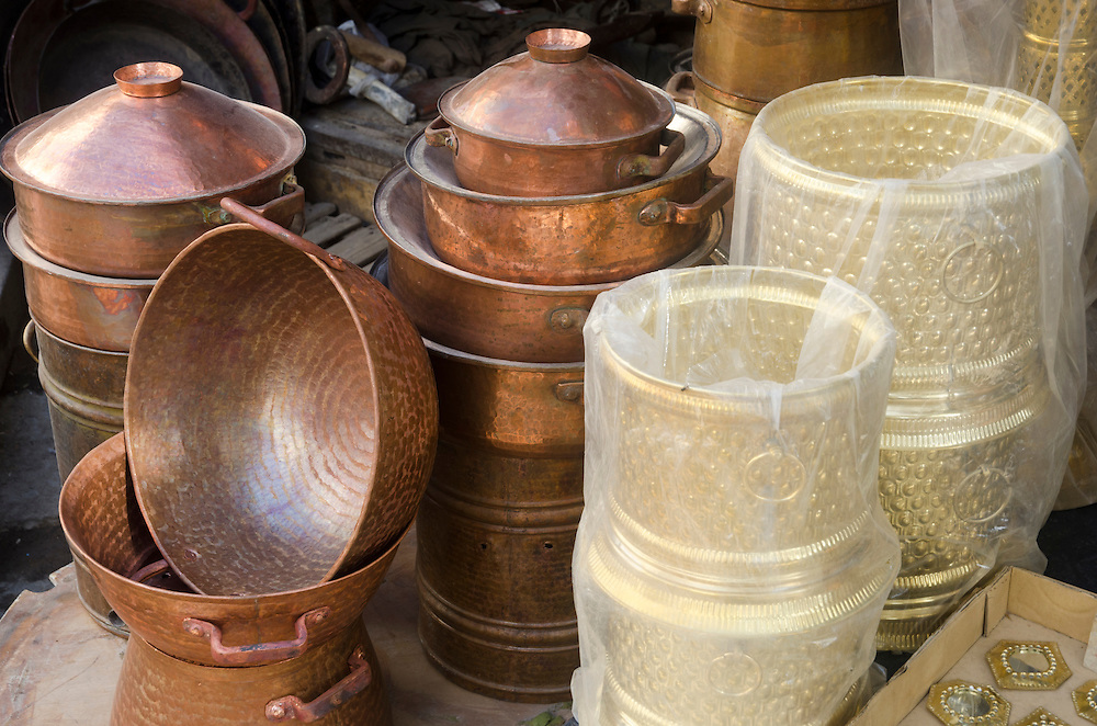Stall with brass dishes in Fes el Bali, Morocco