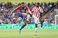 Martin Kelly of Crystal Palace and Glen Johnson of Stoke City compete for the ball. Premier League match, Crystal Palace v Stoke city at Selhurst Park in London on Sunday 18th Sept 2016. pic by John Patrick Fletcher, Andrew Orchard sports photography.