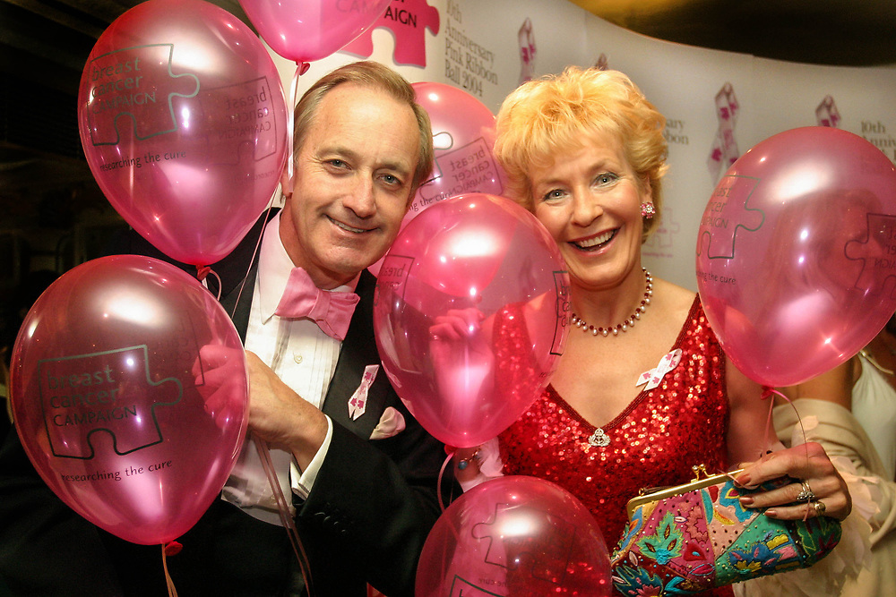 """Christine and Neil Hamilton arrive at the  Breast Cancer Awareness Month, """"The Pink Ribbon Ball."""" The Dorchester, 2004, London"""