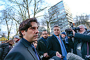 Ahmad Ayaz a mosque adviser speaking to press after a Muslim imam in his 70s has been stabbed inside London Central Mosque near the residence of the Ambassador of the United States of America beside London's Regent's Park and a suspect arrested on suspicion of attempted murder on Thursday, Feb. 20, 2020. (AP Photo/Vudi Xhymshiti)