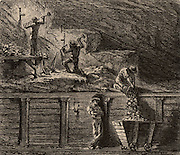 Miners working metal deposits by means of descending levels, a method practised in Hungary, Saxony and Prussia in the early 19th century.  From 'Underground Life; or, Mines and Miners' by Louis Simonin (London, 1869). Wood engraving.