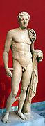 The Atalante Hermes' Pentelic marble, found at Atalante, Phthiotis.  Funerary statue of a youth depicted in the form of the god Hermes.  He is shown nude with his chlamys over his shoulder, wound around his left arm.  Work of the 2nd century AD.