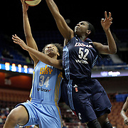 UNCASVILLE, CONNECTICUT- MAY 05: Imani Boyette #34, (left), of the Chicago Sky drives to the basket defended by Elizabeth Williams #52 of the Atlanta Dream during the Atlanta Dream Vs Chicago Sky preseason WNBA game at Mohegan Sun Arena on May 05, 2016 in Uncasville. (Photo by Tim Clayton/Corbis via Getty Images)