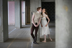 © Licensed to London News Pictures. 21/03/2017. London, UK. Dancers Ruaridh Bisseet, 19 and Amy McEntee, 18 relax in The Central School of Ballet's newly announced building in central London. The dancers wear costumes from their forthcoming nationwide Ballet Central tour 2017 against the backdrop of the unfinished interior of the new premises. Photo credit: Peter Macdiarmid/LNP