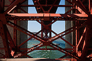 Detail view of the Golden Gate Bridge, seen from Fort Point National Historic Site in San Francisco
