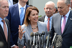 April 30, 2019 - Washington District of Columbia, U.S. - Speaker of the House NANCY PELOSI and Senate Majority Leader CHUCK SCHUMER along with other Democrats come to the stake out outside of The West Wing following their meeting on infrastructure with President Trump. Trump and Democratic leaders agree to $2 trillion infrastructure plan. (Credit Image: © Christy Bowe/ZUMA Wire)