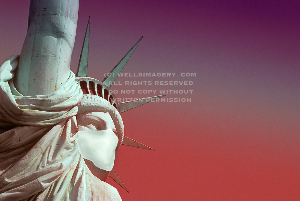 Statue-of-Liberty-wears-a-mask-during-covid-19-pandemic-New-York-City-American-landmark-by-Randy-Wells
