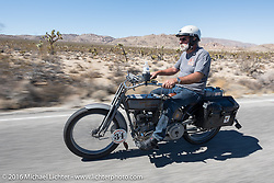 Peter Reeves of England riding his 1915 Harley-Davidson during the Motorcycle Cannonball Race of the Century. Stage-14 ride from Lake Havasu CIty, AZ to Palm Desert, CA. USA. Saturday September 24, 2016. Photography ©2016 Michael Lichter.