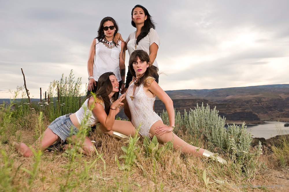 GEORGE, WA - MAY 24: (From Left) Thunderpussy pose for a portrait backstage at Sasquatch! Music festival at the Gorge Amphitheater on May 24, 2015 in George, Washington. (Photo by Steven Dewall)