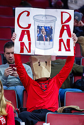 """NORMAL, IL - January 29: Fan with an unknown comic mask with a """"Can Dan"""" sign during a college basketball game between the ISU Redbirds and the University of Evansville Purple Aces on January 29 2020 at Redbird Arena in Normal, IL. (Photo by Alan Look)"""
