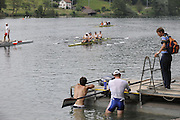 Lucerne, SWITZERLAND.  2 rowers from the NED M4- cool down in the Rotsee Lake,  GV's General views Lake Rotsee, venue for the 2008 FISA World Cup Regatta, Round 2.  Thursday, 29/05/2008.   [Mandatory Credit:  Peter Spurrier/Intersport Images].Lucerne International Regatta. Rowing Course, Lake Rottsee, Lucerne, SWITZERLAND.