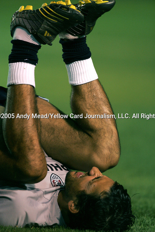 Pablo Mastroeni stretches before the game on Wednesday September 7th, 2005 at Estadio Nacional Mateo Flores in Guatemala City, Guatemala. The United States Men's National Team played Guatemala in a FIFA 2006 World Cup Qualifier. The game ended in a 0-0 tie.