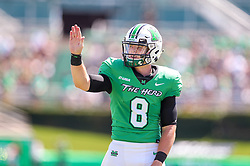 Sep 5, 2020; Huntington, West Virginia, USA; Marshall Thundering Herd quarterback Grant Wells (8) celebrates with teammates after throwing a touchdown pass during the first quarter against the Eastern Kentucky Colonels at Joan C. Edwards Stadium. Mandatory Credit: Ben Queen-USA TODAY Sports