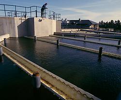 Water treatment tanks; Whittledean Water Works; Northumberland; UK