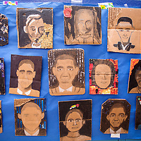 052413       Cable Hoover<br /> <br /> Zuni Middle School students' self portraits are on display during the Zuni Middle School art show in Zuni Friday.