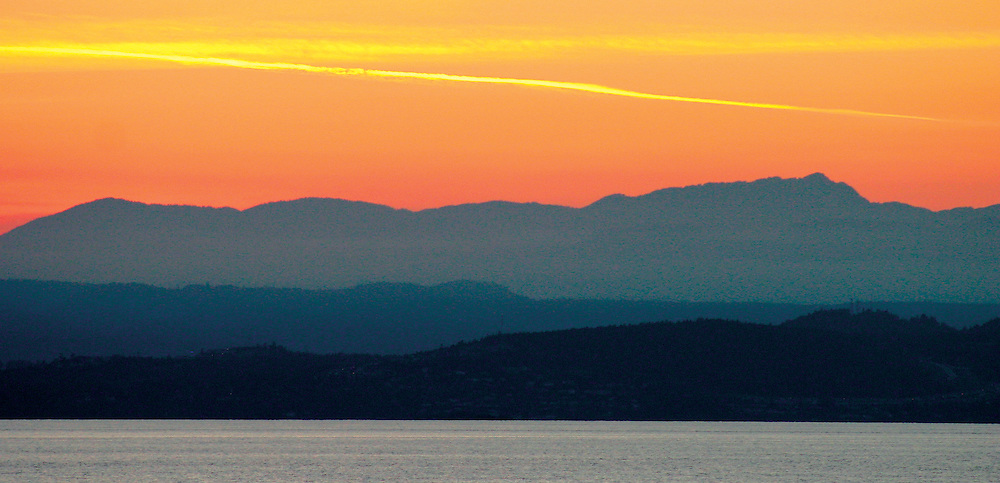 Red skies above Georgia Strait, near Departure Bay, Nanaimo Vancouver Island BC