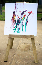 © Licensed to London News Pictures. 20/09/2011. Dunstable, UK. The final painting by KARISHMA the 13-year-old female elephant who has taken to painting in her spare time at Whipsnade Zoo, in Dunstable, Bedfordshire. Photo credit: Ben Cawthra/LNP