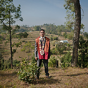 The groom dressed up for his wedding day. Traditional wedding in the Himalaya.