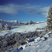 Snow covered landscape of the foothills of the Bridger Mountain Range in background. Winter. Montana.