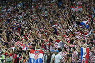 Fans of Croatia celebrate victory after the 2018 FIFA World Cup Russia, semi-final football match between Croatia and England on July 11, 2018 at Luzhniki Stadium in Moscow, Russia - Photo Thiago Bernardes / FramePhoto / ProSportsImages / DPPI