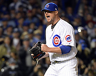 CHICAGO, IL - OCTOBER 7:  Jon Lester #34 of the Chicago Cubs reacts after recording the third out of the fourth inning during Game 1 of NLDS against the San Francisco Giants at Wrigley Field on Friday, October 7, 2016 in Chicago, Illinois. (Photo by Ron Vesely/MLB Photos via Getty Images) *** Local Caption *** Jon Lester