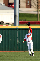 21 April 2015:  Jared Hendren sets up to catch a fly ball during an NCAA Inter-Division Baseball game between the Illinois Wesleyan Titans and the Illinois State Redbirds in Duffy Bass Field, Normal IL