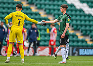 Plymouth Argyle Goalkeeper Michael Cooper (1) gives high five to Plymouth Argyle Defender Oliver Tomlinson (41)  during the EFL Sky Bet League 1 match between Plymouth Argyle and Sunderland at Home Park, Plymouth, England on 1 May 2021.