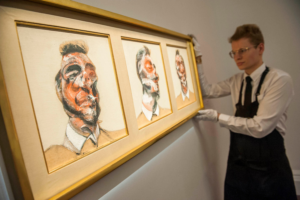 Sotheby's £250m Impressionist & Modern Art and Contemporary Art Summer Sales.  Highlights include: Monet's Water Lilies est £20-30m; a Mondrian, est £13-18m; a Peter Doig, est £9m; a Frances Bacon triptych of his lover George Dyer, est £15-20m (pictured); and works by Matisse, Picasso, Basquiat, Warhol and Richter. Sotheby's, New Bond Street, London.