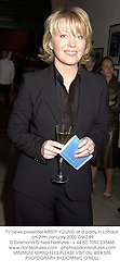 TV news presenter KIRSTY YOUNG at a party in London on 29th January 2002.OWZ 89