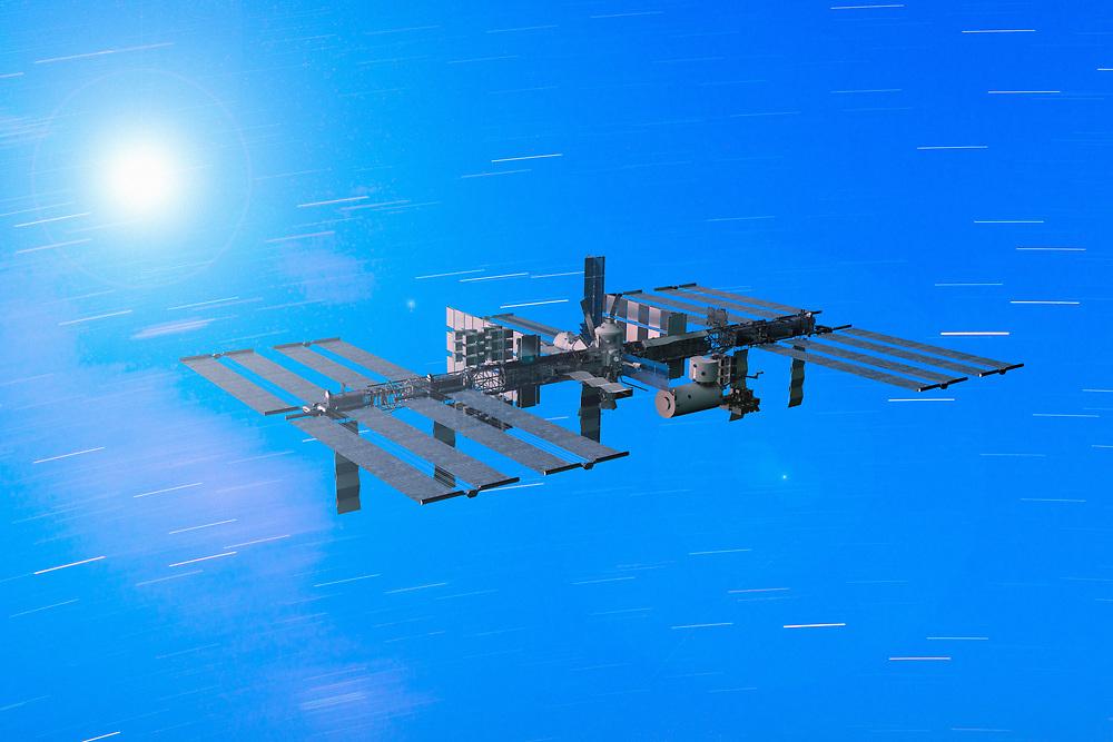 3D rendering of the International Space Station in orbit