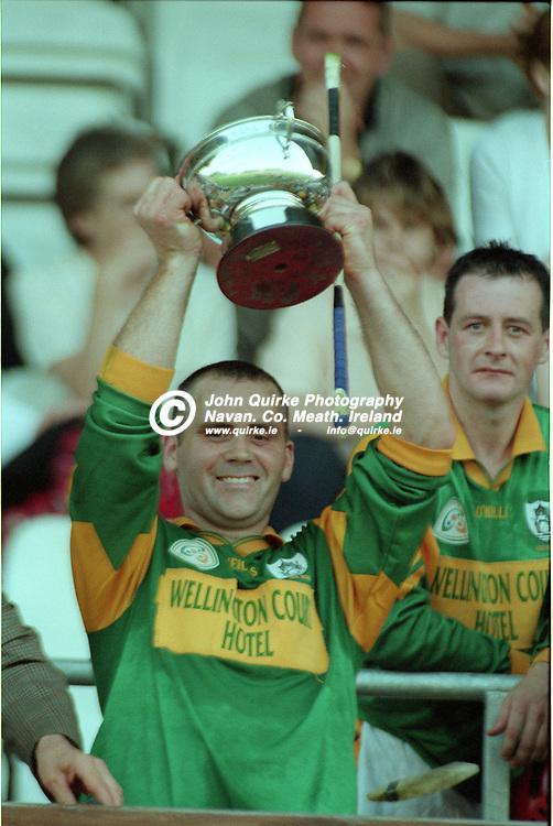 31-07-1999. Meath v Tyrone - All-Ireland JHC  Final at Breffni Park, Cavan.<br /> Meath team captain John Gorry raising the All-Ireland JHC Cup.<br /> Photo: John Quirke / www.quirke.ie<br /> ©John Quirke Photography, 16 Proudstown Road, Navan. Co. Meath. (info@quirke.ie / 046-9028461 / 087-2579454).