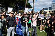 SYDNEY, NSW - SEPTEMBER 05: A big crowd form during the Freedom Day Rally on September 05, 2020 in Sydney, Australia. Protesters argue COVID-19 is a hoax and say their freedoms are being unfairly impinged. Demonstrations are also taking place in every Australian capital city and several regional areas, including Byron Bay. (Photo by Steven Markham/Speed Media)
