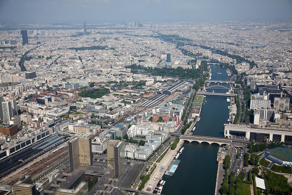 La Seine River with the Eiffel Tower and La Defense in the background.