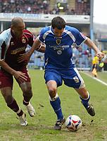Photo: Paul Greenwood.<br />Burnley FC v Cardiff City. Coca Cola Championship. 09/04/2007.<br />Cardiff''s Steven Thompson holds off Wayne Thomas