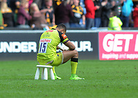 Rugby Union - 2016 / 2017 Aviva Premiership - Semi-Final: Wasps vs. Leicester Tigers<br /> <br /> A dejected Telusa Veainu of Leicester sits down on a stool in the middle of the pitch after the final whistle at Ricoh Arena.<br /> <br /> COLORSPORT/ANDREW COWIE