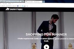 SYMBOLBILD - Outfittery, Logo, Emblem, Signet, Marke, Markenzeichen, Schriftzug, Startseite auf einem Computer, Bildschirmfoto // Outfittery, logo, emblem, logo, brand, trademark, logo, homesite on a computer, screenshot. EXPA Pictures © 2016, PhotoCredit: EXPA/ Eibner-Pressefoto/ Fleig<br /> <br /> *****ATTENTION - OUT of GER*****