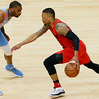 18 March 2018: LA Clippers guard Sindarius Thornwell (0) defends on Portland Trail Blazers guard Damian Lillard (0) during the Portland Trail Blazers 122109 victory over the LA Clippers, at the Staples Center, Los Angeles, California, USA.