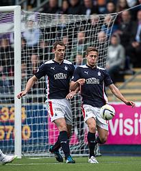 Falkirk's David McCracken and Will Vaulks. <br /> Falkirk 0 v 3 Hibernian, Scottish Championship game played at The Falkirk Stadium 2/5/2015.