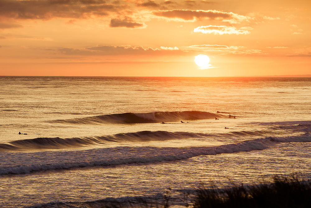 Surfers paddling out and catching waves in the orange light of sunset at St Ouen's bay in Jersey, Channel Islands