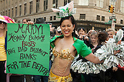 Marni the money bunny, festooned in money. One of the few socially-themed costumes in the parade.