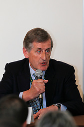 Farrington Paul (GBR) FEI vetrinarian<br /> Pressconference concerning disqualification of McLain Ward's horse Sapphire due to a positive Hypersensitivity test after the second competion of the Rolex FEI World Cup Final - Geneve 2010<br /> © Dirk Caremans