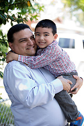Julio Diaz of Fremont, Calif. poses for a photograph with 4-year-old son Jaden, Thursday, June 11, 2015. (D. Ross Cameron/Bay Area News Group)