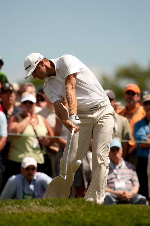 NEWTOWN SQUARE, PA - JULY 1: Dustin Johnson plays a shot during the first round of the AT&T National Classic at Aronimink Golf Club on July 1, 2010 in Newtown Square, Pennsylvania. (Photo by Darren Carroll) *** Local Caption *** Dustin Johnson