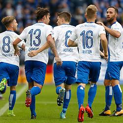 vl Philip Türpitz (Magdeburg, 8), Dennis Erdmann (Magdeburg, 13), Björn Rother (Magdeburg, 6), Nils Butzen (Magdeburg, 16), Christopher Handke (Magdeburg, 3) Jubel, Torjubel, Torerfolg, celebrate the goal, goal, celebration, Jubel ueber das Tor, optimistisch, Action, Aktion beim Spiel in der 3. Liga, 1. FC Magdeburg - FC Carl Zeiss Jena.<br /> <br /> Foto © PIX-Sportfotos *** Foto ist honorarpflichtig! *** Auf Anfrage in hoeherer Qualitaet/Aufloesung. Belegexemplar erbeten. Veroeffentlichung ausschliesslich fuer journalistisch-publizistische Zwecke. For editorial use only.