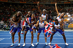 Great Britian's mens and womens relay teams celebrate during day six of the 2018 European Athletics Championships at the Olympic Stadium, Berlin.