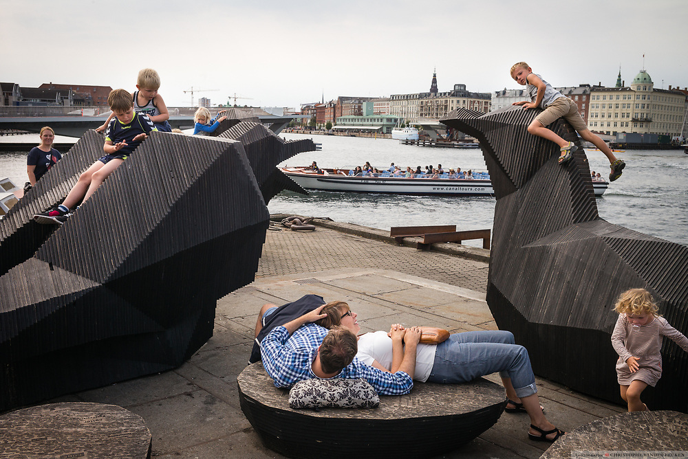 Copenhagen, Denmark, 16 August 2015, People waiting for a taxi boat